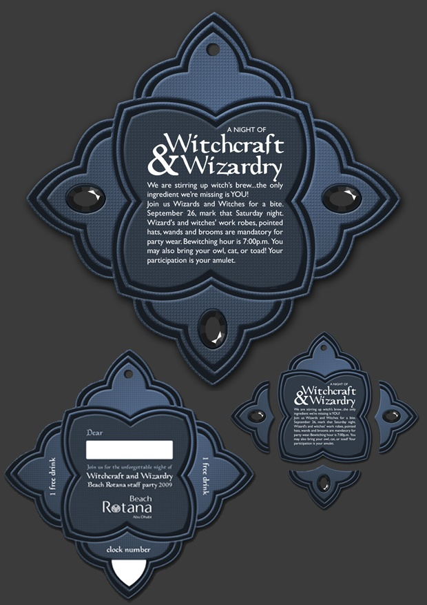 Wizards & Witches theme party invitation card